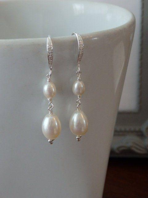 b22fb1258b9b7 Statement Pearl Earrings, Silver Pearl Earrings, Long Silver ...