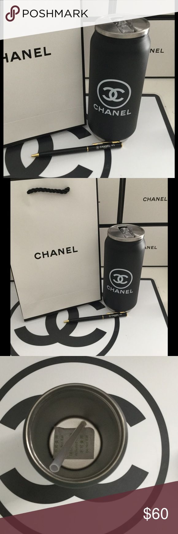Chanel stainless steel tumbler + 1 Chanel Pen Bundle gift set includes VIP tumbler plus one Chanel pen! Chanel gift bag not included, sorry. No box. Holds 500 ml CHANEL Accessories