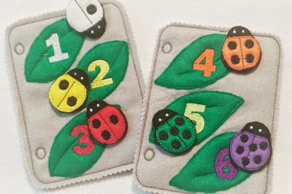This listing is for 2 felt ladybug counting and color matching quiet book pages. Each page has 3 leaves with a colored number on it and a