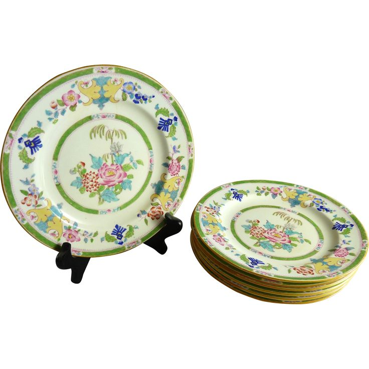 Antique Mintons Dessert Plate Set of Six Chinoiserie Decorated Minton E B Taylor Co. www.rubylane.com #vintagebeginshere