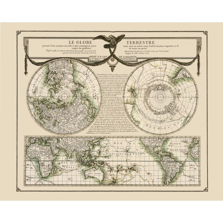 Vintage world map for wall decoration. James Cook voyages depicted. Handmade paper print.