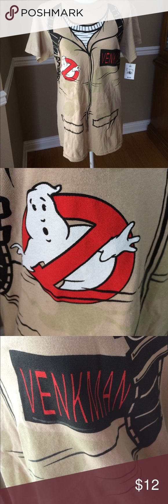 Ghostbusters tee Venkman uniform look-a-like tan tee shirt. Ghostbusters logo on right chest area, has areas on front only that glow in the dark! Shirts Tees - Short Sleeve