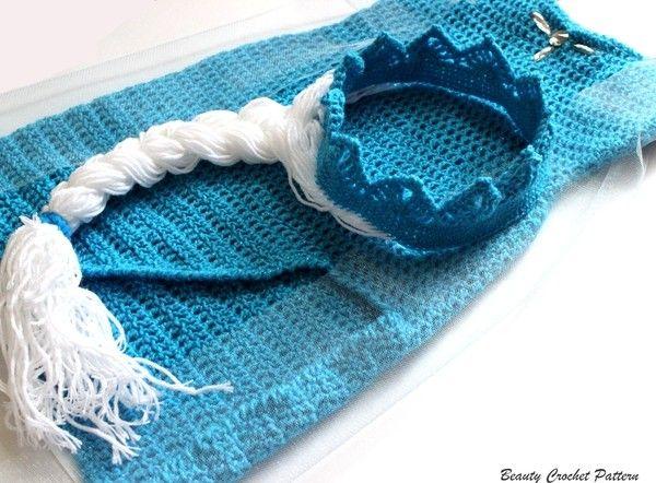Größen: 0-6 Monate; 6-12 Monate; 1-2 Jahren; 3-4 Jahren; 5-8 Jahren. Das Muster enthält auch alle Größen der Krone und wie man den Zopf zu machen. Material: Hakengröße: 3.5 mm; Garnstärke:Wolle mit ca.300m/100g für Häkelnadel 4 mm; Blauen und We