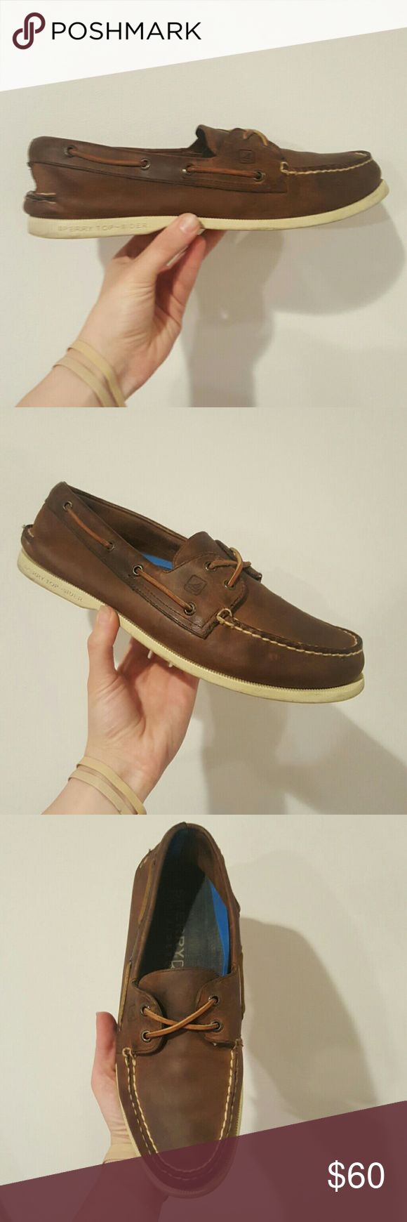 SPERRY MENS SHOES 10.5 DARK BROWN SPERRY TOPSIDER MENS BOAT SHOE BROWN LEATHER WHITE SOLES 10.5 EUC Sperry Top-Sider Shoes Boat Shoes