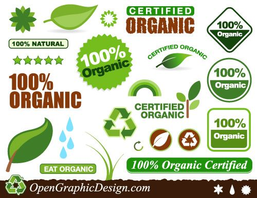 Green design elements for whole food and organic food websites and collateral pieces