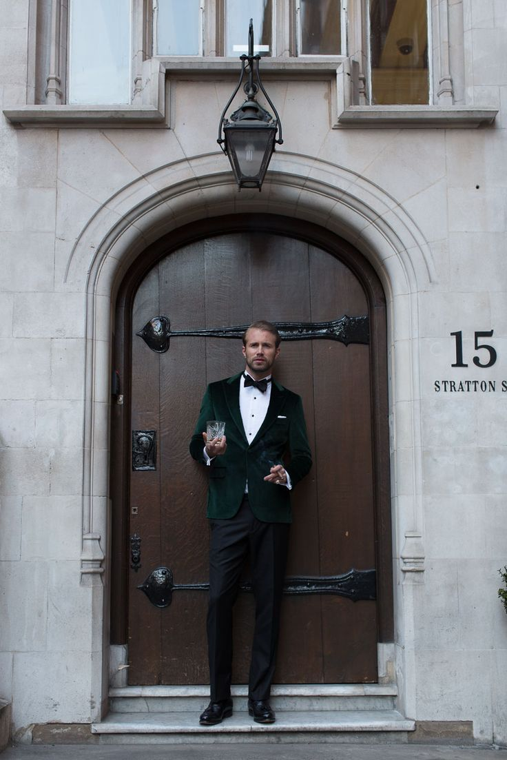 Rubell Emerald Jacket - Termao White Tux Shirt - Lorde Tux Studs - Harden Black Trousers - White Cotton Pocket-chief