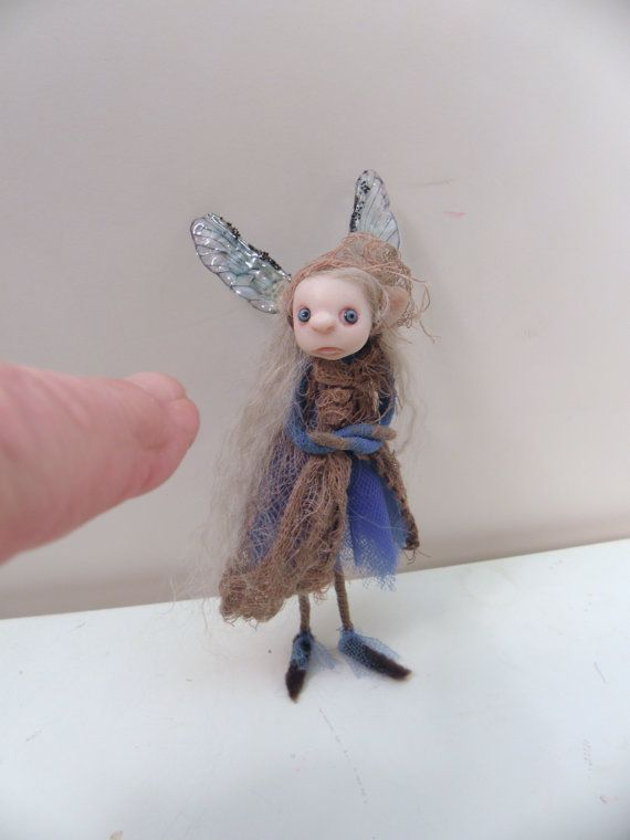 Pissed off pixie fairy ... ooak polymer clay ( poseable ) art doll by DinkyDarlings