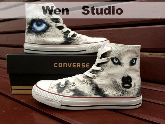 Wolf Converse Customize Hand Painted ShoesConverse by WenWenStudio, $82.00