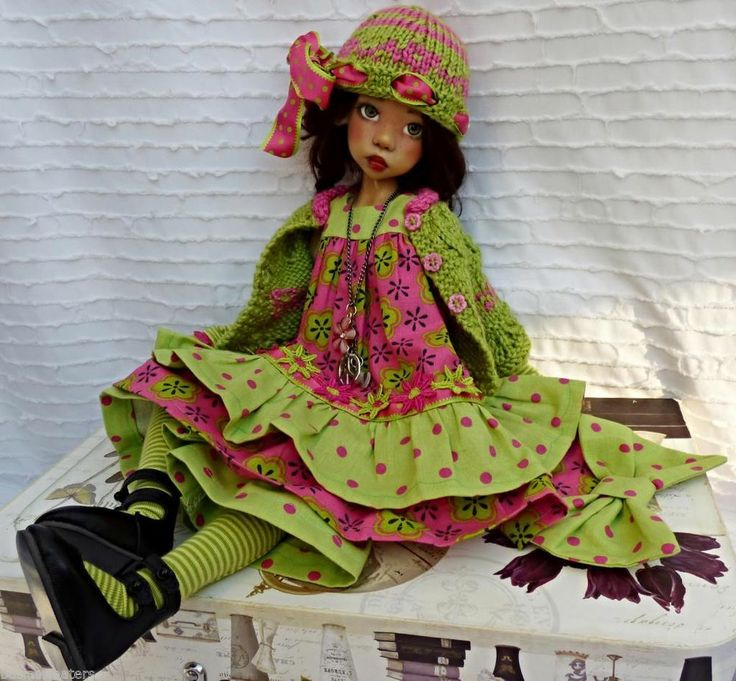 SPRING IN COLORS #2  DRESS SET FOR MSD LAYLA KAYE WIGGS DOLLSTOWN DT7 BY BARBARA