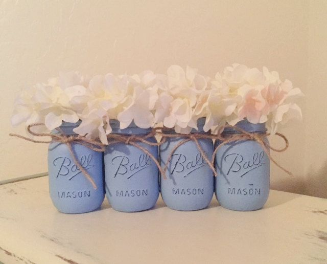 Baby Blue Distressed Mason Jars, Light Blue, Rustic Nursery, Baby Boy Baby Shower, Wedding Mason Jars, Painted Mason Jars, Shabby and Chic by MyHeartByHand on Etsy