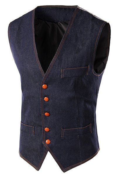 $13.31 Slimming Single Breasted V-Neck Denim Waistcoat For Men http://www.99wtf.net/men/mens-accessories/guide-to-wear-accessories/