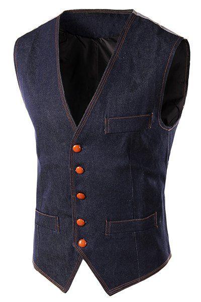 $13.31 Slimming Single Breasted V-Neck Denim Waistcoat For Men