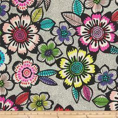 Alexander Henry Folklorico Acapulco Black/Brite from /fabricdotcom/  Designed by the De Leon Design Group for Alexander Henry, this cotton print fabric features gorgeous flowers on a dizzying background for a boho vibe. Perfect for quilting, apparel and home decor accents. Colors include black, white, teal, purple, green, chartreuse, shades of pink and red.