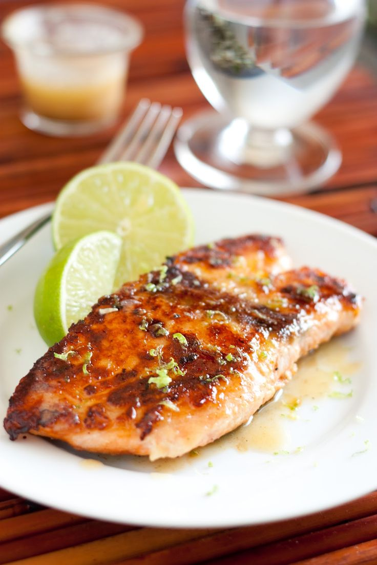 Pan Seared Honey Glazed Salmon with Browned Butter Lime Sauce from cooking