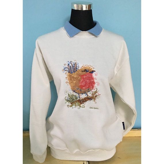 Robin Embroidered jumper with collar Country Swirls www.countryswirls.com