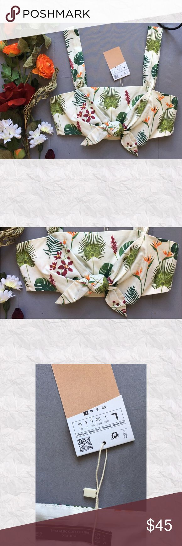"""Zara Trafaluc Tropical Cotton Crop Top *SALE IS FOR TOP ONLY!!   *Condition: NWT. Tags were cut to avoid returns *Ties at center busy *Zips on side *Shell: 100% Cotton *Lining: 100% Cotton *Care: Machine wash *Measurements are approx & taken lying flat *Bust: 31"""" *Shoulder to hem: 13.5"""" *Stored in non-smoking pet free home Zara Tops Crop Tops"""
