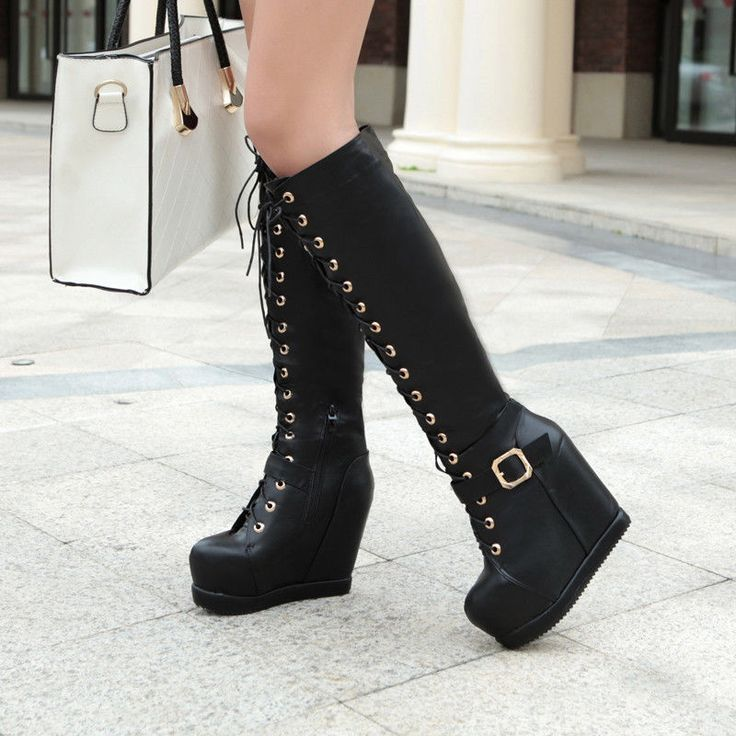 Wedge Heeled Platform Faux Leather Lace Ups Knee high Boots