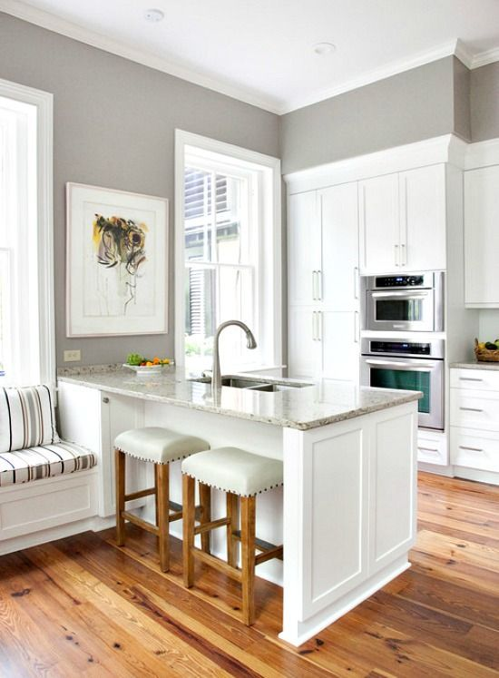 Kitchen Island vs. Peninsula. Like the crisp,clean look of grey and white.