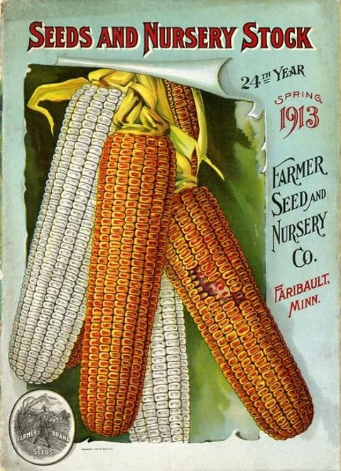Colorful ears of corn burst through the cover of the Spring 1916 Farmer Seed & Nursery Co. catalog must have lifted farmers' spirits.    Farmer Seed & Nursery originated in Faribault, MN in 1888. Andersen Horticultural Library hosts a collection of vintage Farmer Seed & Nursery catalogs.