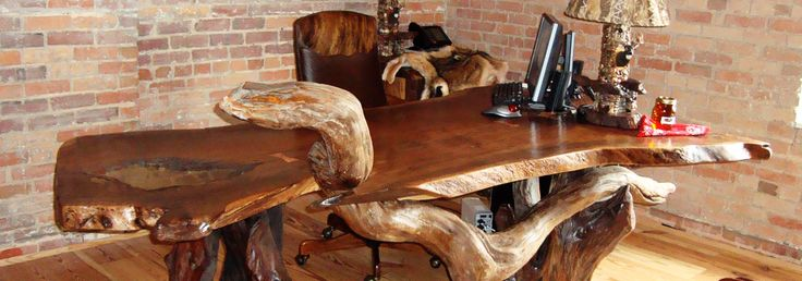 Slideshow-Rustic office desk