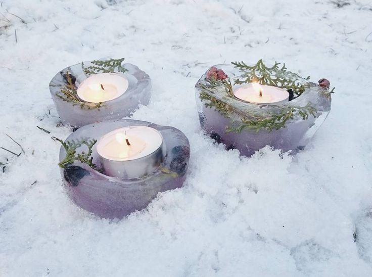 Tél, mínuszok, fagyasztott gyertyatartók....Winter, minuses, frozen candle holders ....Diy