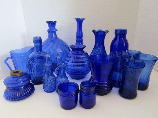 339 Vintage Blue Glass Bottlesvasestumblers On Blue Glass