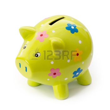 painted piggy bank: Painted ceramic piggy bank on a white background. Stock Photo