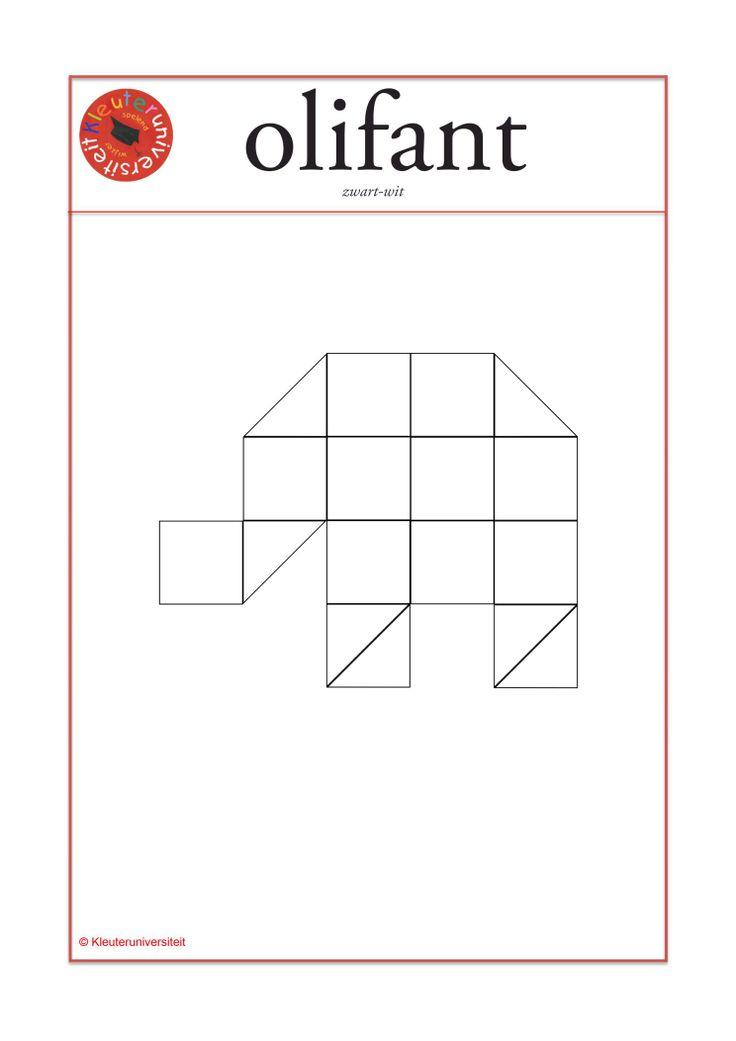 mozaiek-voorbeeldkaart olifant groot formaat zwart wit