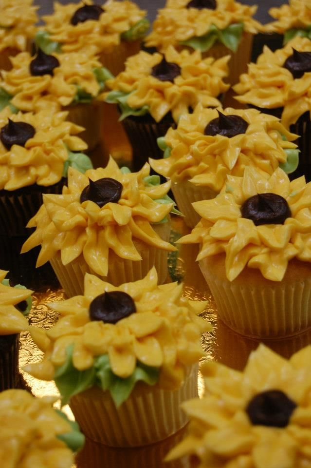 cupcake recipes for bridal shower%0A Sweet sunflower cupcakes now at Sweet Life in Eugene  OR