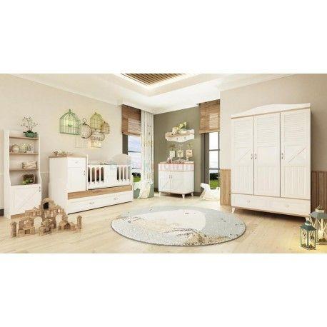 Pierre Cardin Bonnie Bebek Odası Takımı.  3 kapaklı gardırop.  80x180 yavru yataklı büyüyen beşik.  Şifonyer + Duvar rafı.  Oyuncak dolabı.