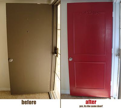 Front door makeover with just paint and moulding