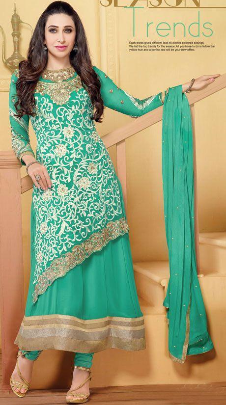 Karisma Kapoor Sea Green Layered Anarkali Suit