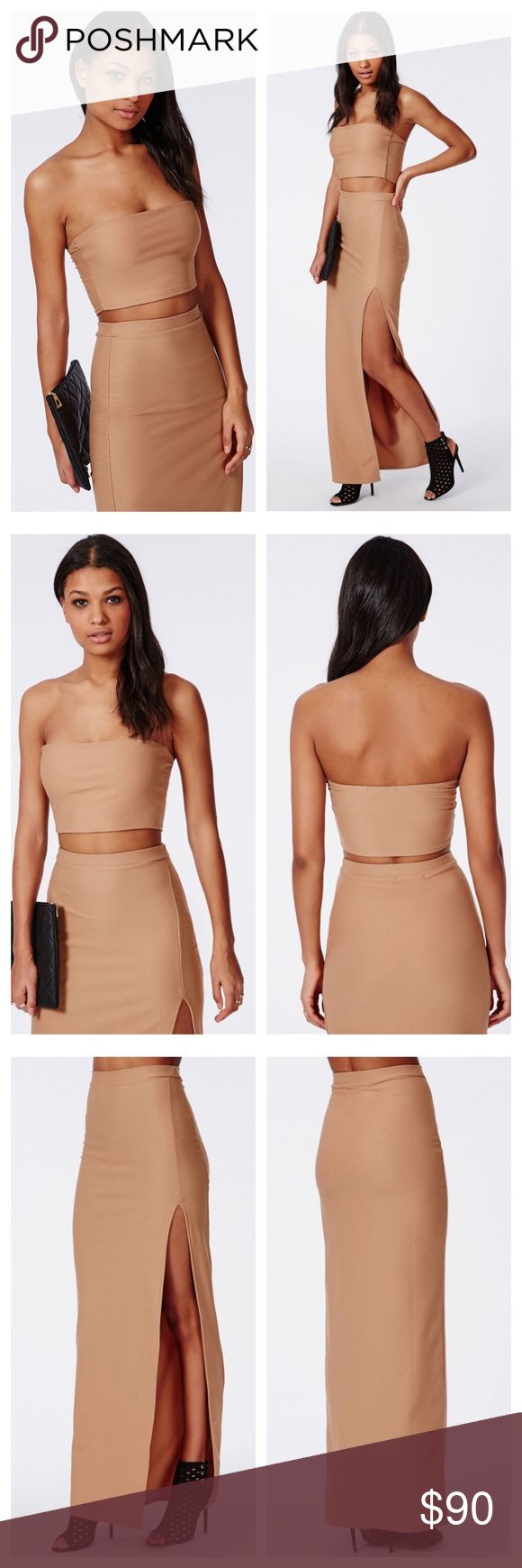 Missguided Bandeau Top & Maxi Skirt Missguided Bandeau Tube Top and Thigh High Split Maxi Skirt is a seductive set that will leave everyone mesmerized. The camel bandeau top and maxi skirt is made of a stretchy material that accentuates your curves. If you are seeking an ensemble that captures the crowd's attention, then this outfit is perfect for you!  *IMPORTANT: The US size 6 has tags attached. The size US 4 does not have its tags attached but has never been worn before. Missguided Skirts…