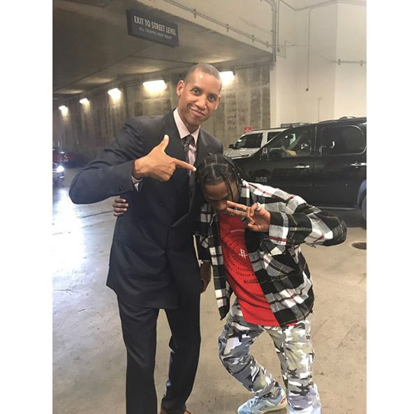 Travis Scott poses with Reggie Miller at the 2017 NBA Playoffs at Toyota Center on April 25, 2017 in Houston, Texas (Courtesy of Instagram)