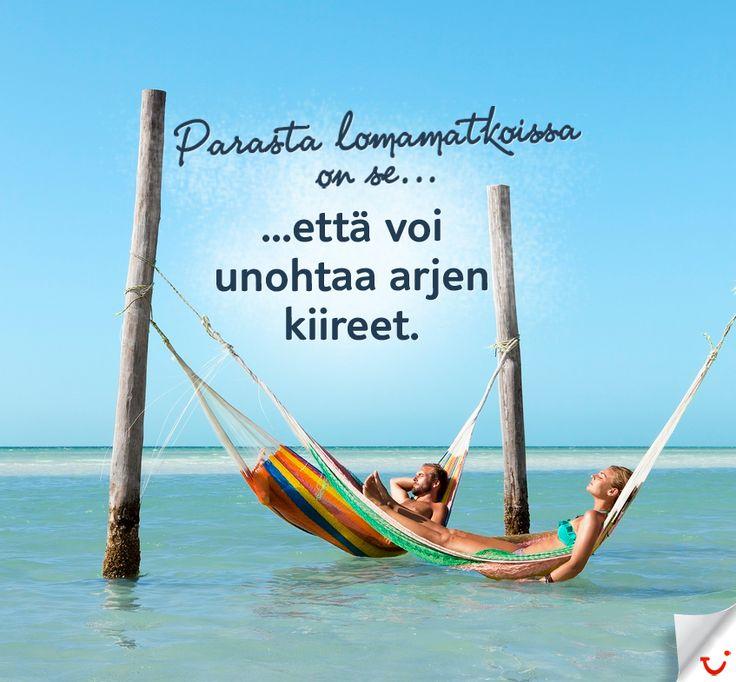 Unohda arjen kiireet:  http://www.finnmatkat.fi/ #Finnmatkat