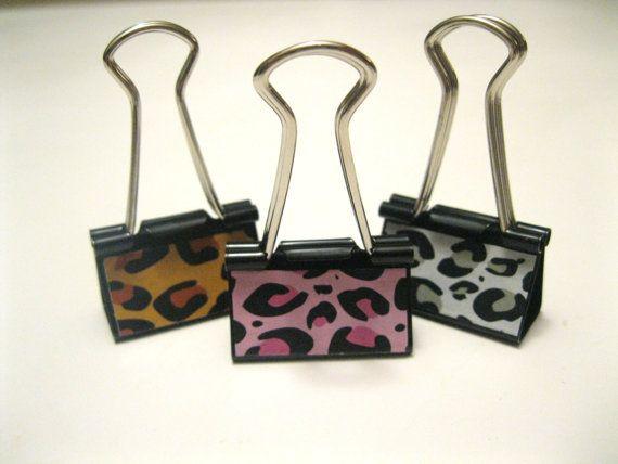 Decorative Binder Clips  Leopard by KeepMeClips on Etsy, $3.50