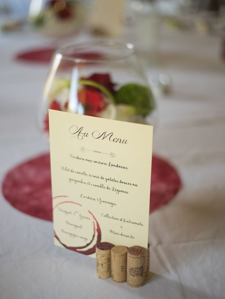Mariage thème vin vigne menu bouchon