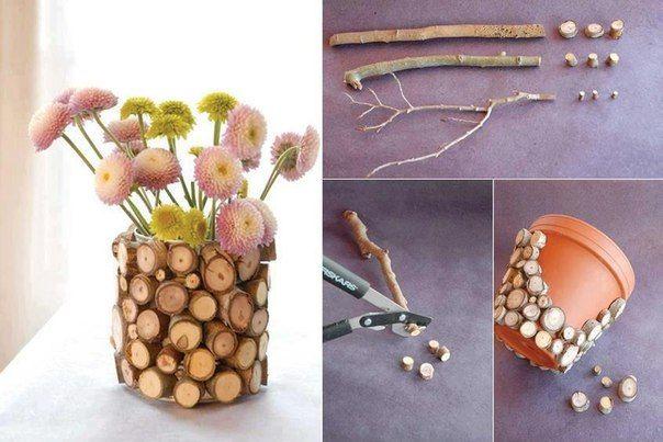 Faça Você Mesmo - Vaso de barro decorado com madeira