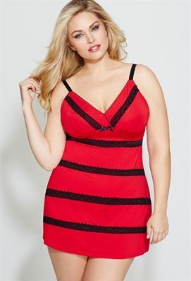Plus Size Lace Striped Chemise   Avenue