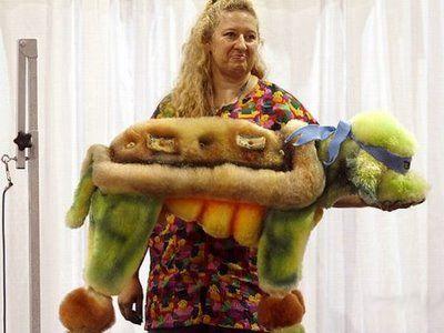 Ninja turtle :) :) ha ha hhhh cute :) good idea for my dog on Halloween :) :)
