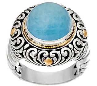 Artisan Crafted Sterling Silver & 18K Gold Gemstone Ring