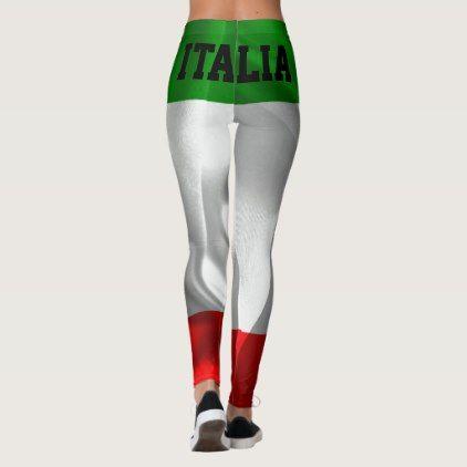 ITALIA! ITALY! Italian Flag Custom Fitness Leggings - personalize gift idea diy or cyo