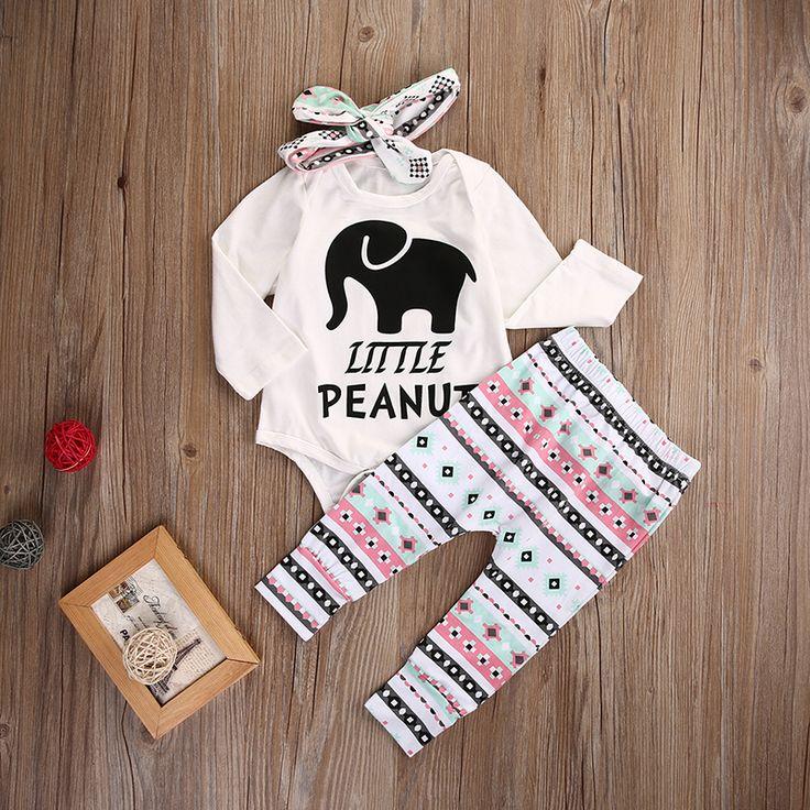 2016 новорожденных девочек одежда Слон Ползунки + брюки + Оголовье 3 шт. костюм девушка новорожденный комплект одежды купить на AliExpress