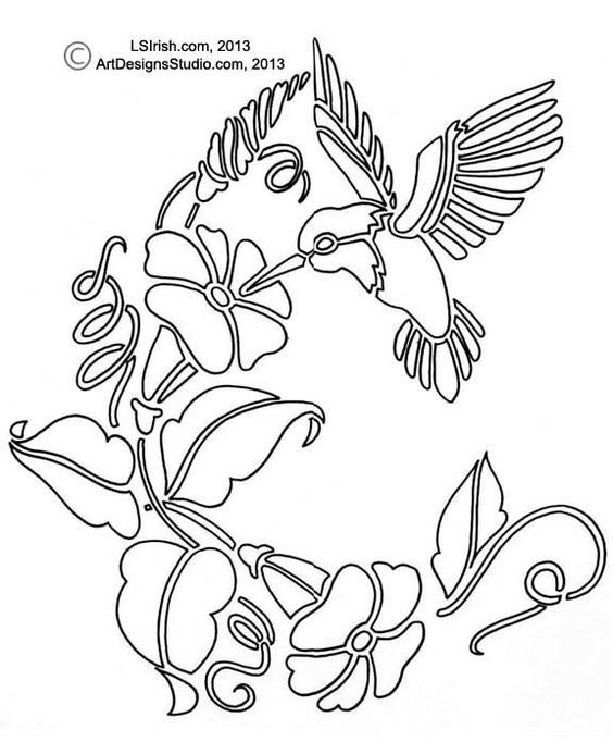 Free hummingbird pattern by lora irish wood burning