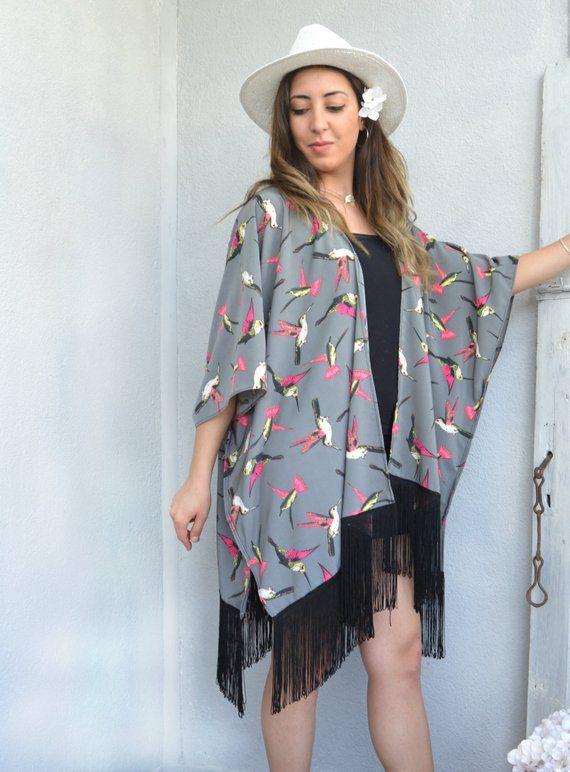 Swimwear Coverup Bridesmaid Gift Oversize Cardigan Top Birds Kimono Jacket Hummingbird Kimono Coverup Beach Coverup Boho Kimono Robe