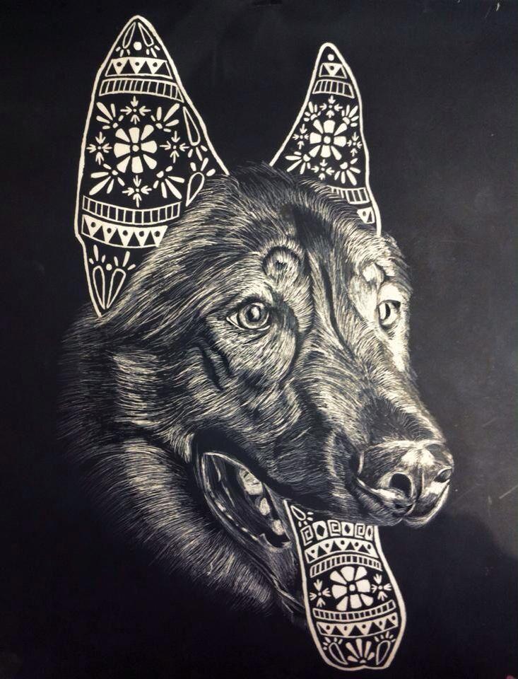 #animals #dog #scratchboard #illustration #art #blackandwhite #pattern