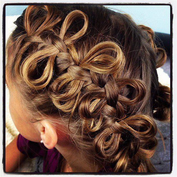 """Bow Braid Ponytails   Cute Braided Hairstyles from @Mindy """"Cute Girls Hairstyles"""""""