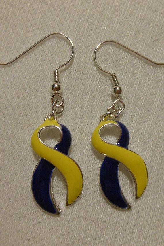 Down Sydrome Awareness Ribbon earrings by DeclansTreasureChest, $5.00