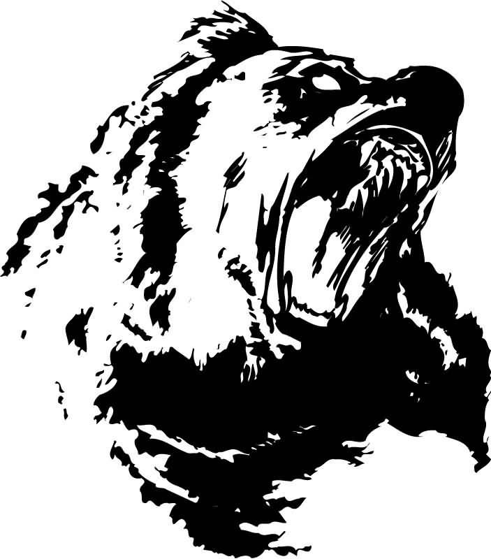 angry bear black and white - photo #15