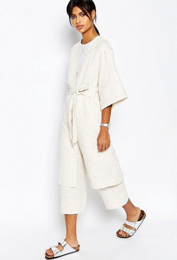 ASOS Natural Fabric Kimono With Tie Waist Co-ord
